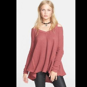 Free People Sweaters - Free People Moonshine V-Neck Sweater in Dark Rose